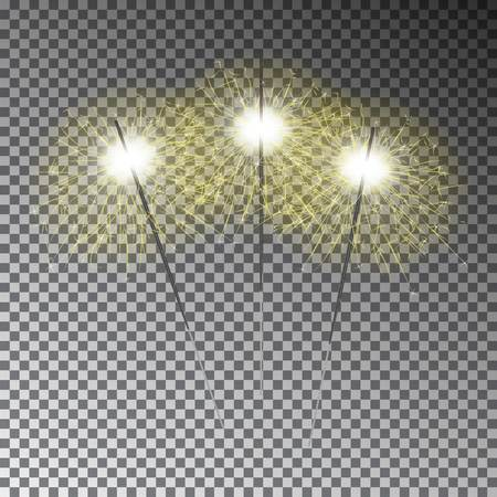 bengal light: Christmas sparkler set. Transparent Bengal light isolated on dark background. Decoration light effect for banner, poster, menu.