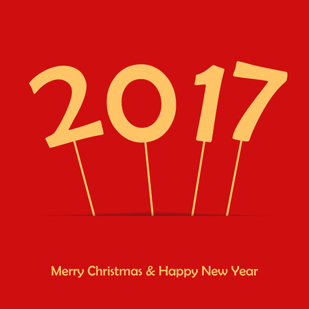 2017 on stick. Happy New Year and Merry Christmas. Poster or card background. HNY template for your design. Abstract illustration Illustration