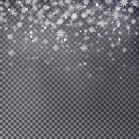 Falling Christmas Shining transparent beautiful snow isolated on transparent background Vettoriali