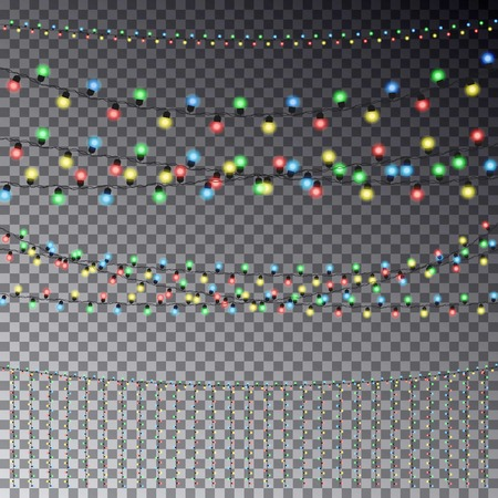 string lights: set of overlapping, glowing transparent light garlands isolated on a dark background. Christmas string Lights. Colorful color christmas lights string . party lights .fairy string lights