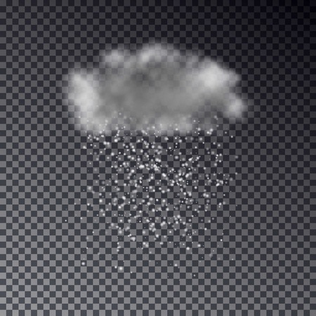 Realistic dark cloud with snow isolated on transparent background. Light weather effect template. Forecast illustration.