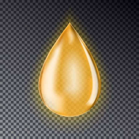 Drop of oil isolated on a transparent background. Realistic gold drop. Vettoriali