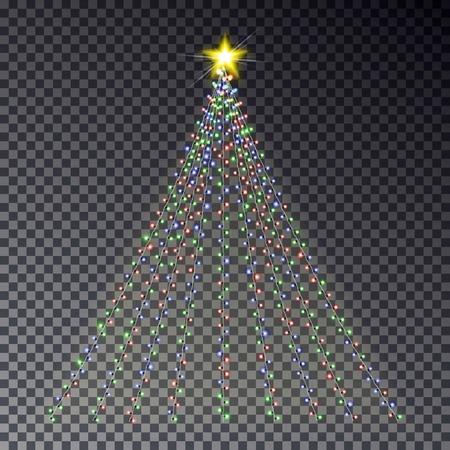 Albero di luce di Natale con ghirlanda isolato su sfondo scuro. Effetto ghirlanda colorata. Albero chiaro con modello di stella per carta, poster.