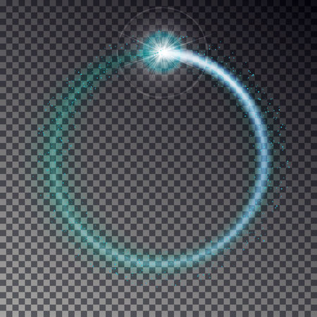 Transparent blue light frame with sparkles isolated on dark background. Shiny particles and flares on magic ring. Load light effect.