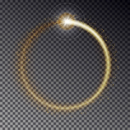 glint: Transparent golden light frame with sparkles isolated on dark background. Shiny particles and flares on magic ring. Load light effect. Illustration