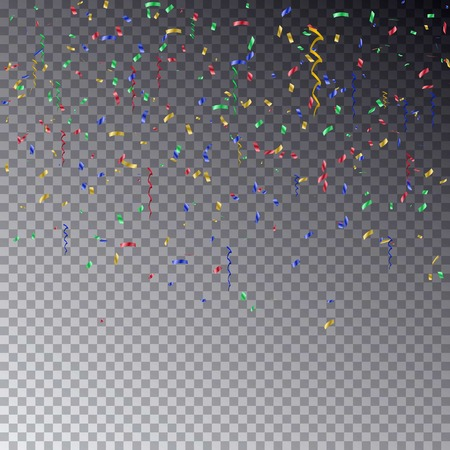 Transparent background with many falling colorful color confetti pieces.