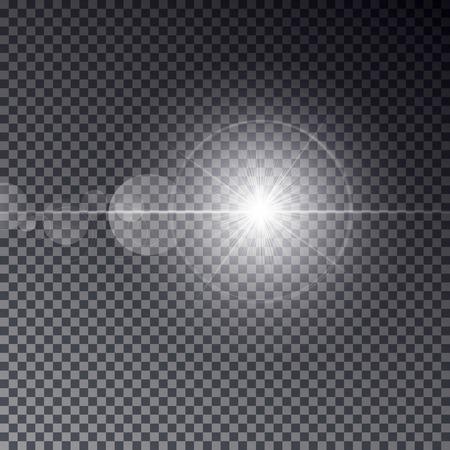 Transparent sun light with bokeh isolated on dark background. Shiny star on magic ring. Sun ray light effect. 일러스트