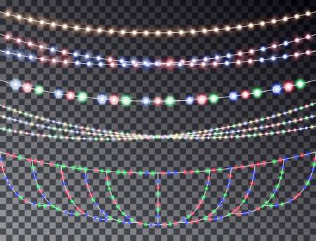 string lights: set of overlapping, glowing transparent light garlands isolated on a dark background. Christmas string Lights. Colorful color christmas lights string. Illustration