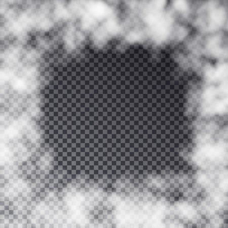 투명 안개 프레임 효과는 어두운 배경에 고립입니다. 연기 나 안개 효과. 화이트 흐림, 안개 나 스모그 패턴입니다. 특별 연기 효과, 카드 템플릿, 포스