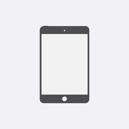 Gray Tablet icon with isolated blank screen. Modern simple flat device sign. Internet tablet concept. Trendy vector mockup display symbol for website design web button, mobile app. Logo illustration Çizim
