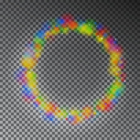 Vector colorful color magic circle. Glowing rainbow ring effect with sparkle. Glitter sparkle swirl trail effect on black background. Bokeh glitter round ellipse line with sparkling flash lights. Ilustracja