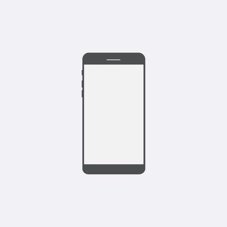 Gray Smartphone pictogram met geïsoleerd leeg scherm. Moderne eenvoudige platte telefoon teken. Internet concept. Trendy vector telefoon scherm symbool voor website design web knop, mobiele app. logo illustratie