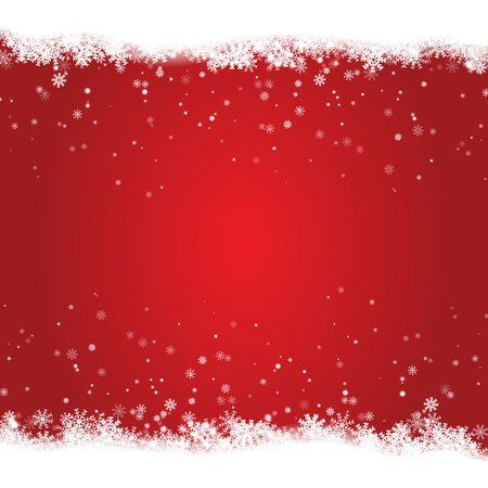 Christmas snow frame isolated on red background. Christmas greeting decoration for banner, poster, card. Vector illustration. Illustration