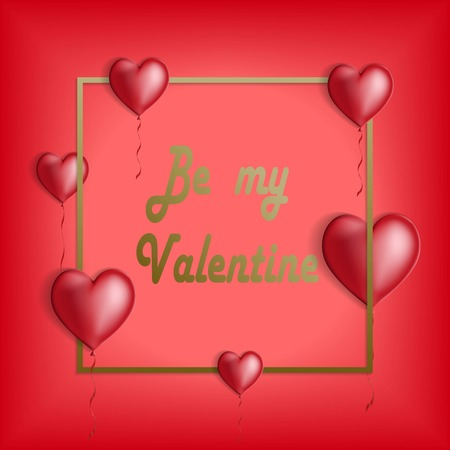 Happy valentines day and weeding design elements. Red balloons hearts with golden frame Vector illustration.