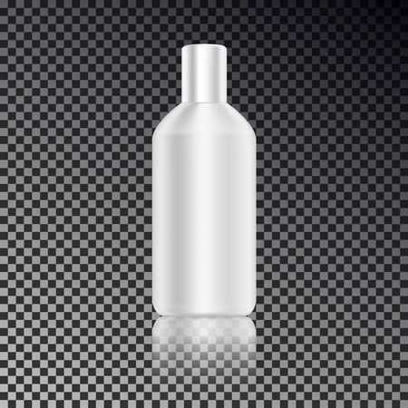 Cosmetic ads template, blank cosmetic mockup bottle with transparent reflection isolated on dark background. Realistic white 3D vector illustration.