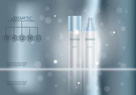 化粧品ポスター、広告テンプレート化粧髪スプレー ボトル保湿クリームや液体のパッケージ デザインです。透明の 3 D ベクトルの図。  イラスト・ベクター素材