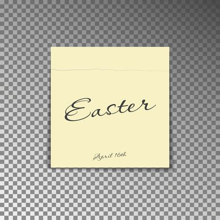 Office yellow post note with text Happy Easter and date 16th april. Paper sheet sticker with shadow isolated on a transparent background. Vector illustration.