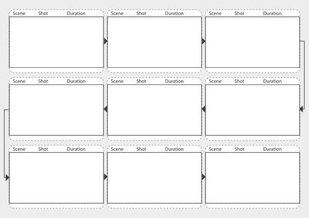 영화 스토리 보드 모형 전문. 이야기의 과정을 쉽게 제시 할 수있는 템플릿. 인쇄용으로 적합한 A4 용지 디자인. 벡터 일러스트 레이 션.