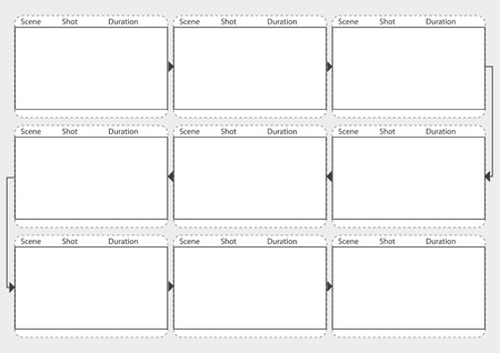 longshot: Professional of film storyboard mockup.  Template for easy to present the process of story. A4 design of paper to fit for print out. Vector illustration.