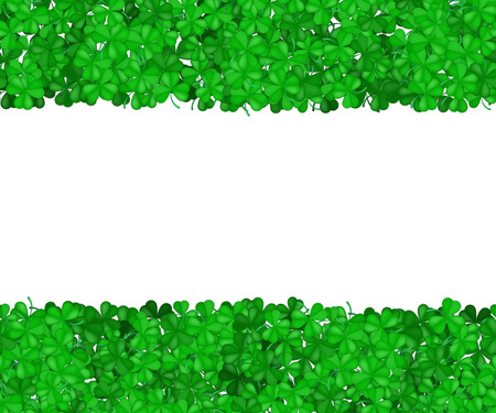 St Patricks Day clover. Green border of shamrocks isolated on a white background. Space for text. Gradient Vector illustration. Illustration