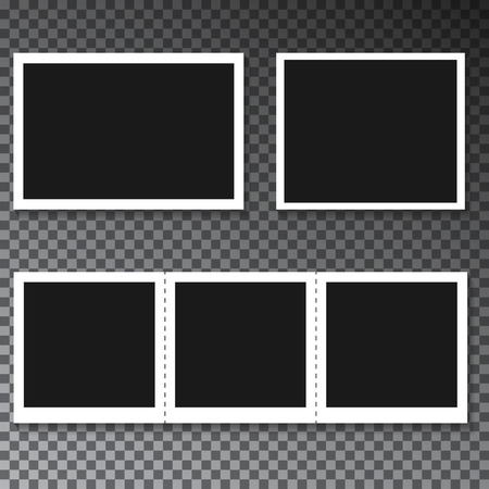 Collection of different blank photo frames with shadow effect and empty space for your photograph.