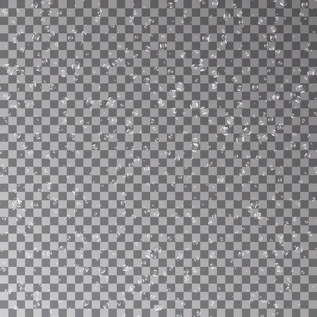 Water transparante druppels patroon. Regendruppels. Condensed achtergrond. Waterdruppels verspreid over de donkere oppervlakte. Vector illustratie. Stock Illustratie