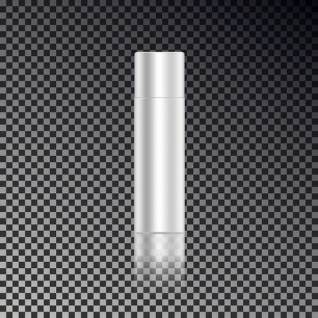 Cosmetic close hair spray ads template, blank cosmetic mockup bottles with transparent reflection isolated on dark background. Realistic white 3D vector illustration. 向量圖像