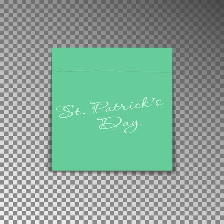 Office yellow post note with text St. Patricks day. Paper sheet sticker with shadow isolated on a transparent background. Vector illustration. 向量圖像