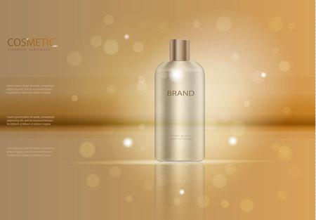優雅な髪シャンプー広告テンプレート、黄金のガラス瓶のモックアップの広告や雑誌、化粧品の製品ポスター、保湿剤クリームや液体ボトル パッケ  イラスト・ベクター素材