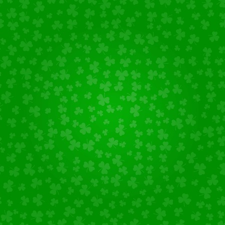 St Patricks Day clover. Green pattern of shamrocks. Decorative Vector illustration.