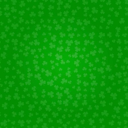 St Patricks Day clover. Green pattern of shamrocks. Decorative Vector illustration.