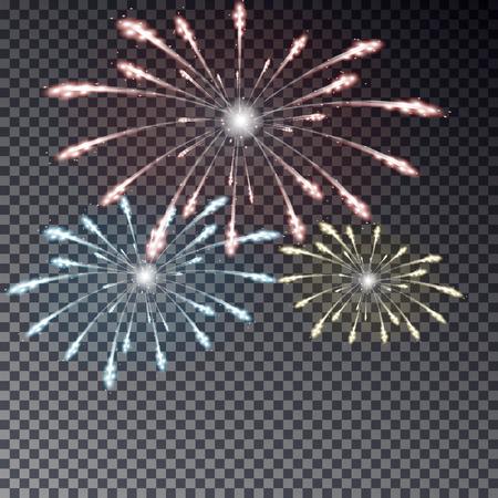 Festive transparent firework isolated illustration on dark background. Light fireworks effect for card, poster. Vector illustration.