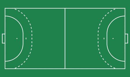 フラット ハンドボール フィールド、緑の草。線テンプレートを持つフィールド。ベクトル ハンドボール競技場。