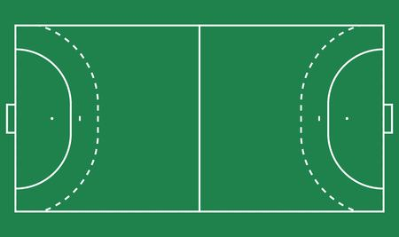 Plat handbalveld, groen gras. Veld met lijnsjabloon. Vector Handbal stadion.