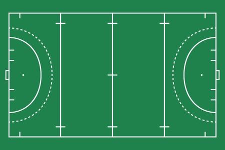 Flat green field hockey grass. Hockey field with line template. Vector stadium.