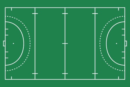 Plat groen hockey gras. Hockeyveld met lijnsjabloon. Vector stadion.