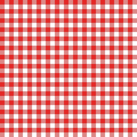 Gingham seamless pattern. Red Italian tablecloth. Picnic tale cloth vector. Illustration