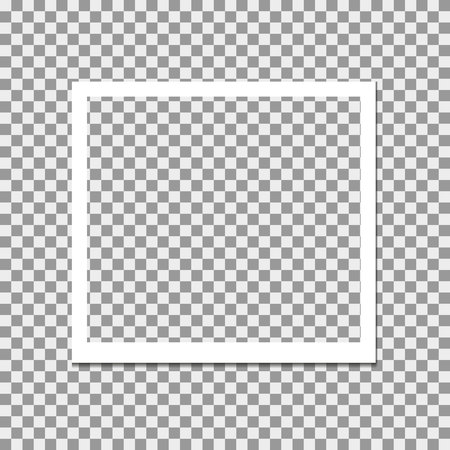 Photo frame with shadow and empty space for picture. Transparent border vector.