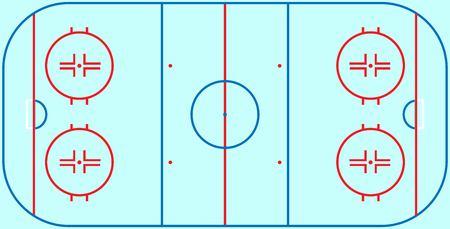 フラット アイス ホッケー場。線テンプレートを持つアイス ホッケー フィールドの平面図です。ベクトル競技場。  イラスト・ベクター素材
