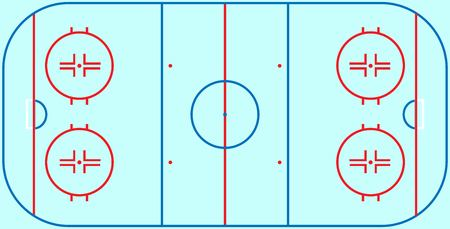 Flat ice hockey field. Top view of ice hockey field with line template. Vector stadium.