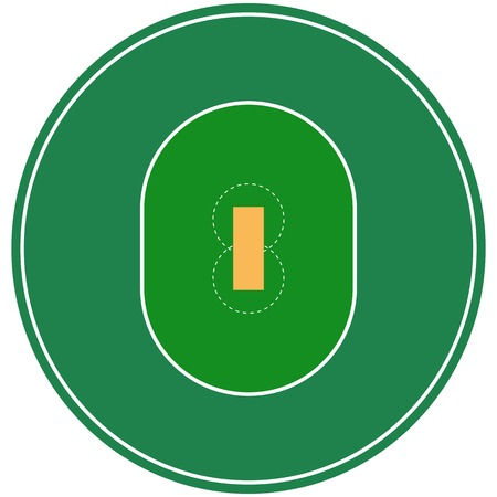 Flat green cricket ground. Top view cricket field with line template. Vector stadium.