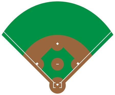 Flat green Baseball grass field. Baseball base with line template. Vector stadium.