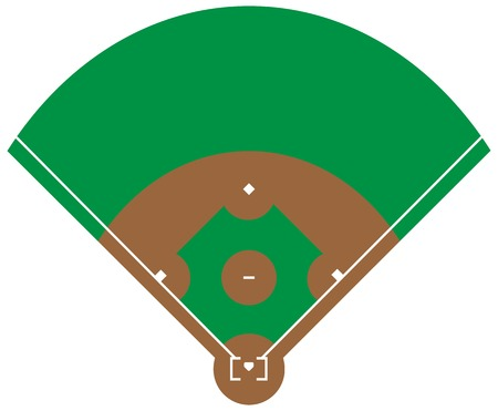 Flat green Baseball grass field. Baseball base with line template. Vector stadium.