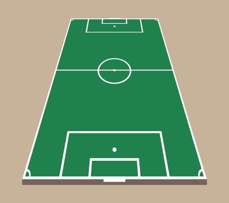 Boven- en achteraanzicht van voetbalveld. Groene platte voetbal veld mockup. 3D-voetbal veld vector