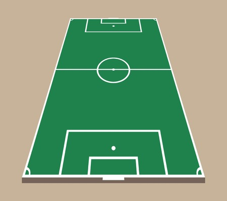 Top and back view of soccer field. Green flat football field mockup. 3d soccer field vector