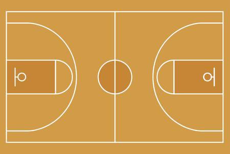 Flat Basketball field. Top view of Basketball court with line template. Vector stadium. Ilustração