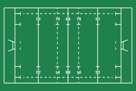 Flat green Rugby field. Top view of American football field with line template. Vector stadium.