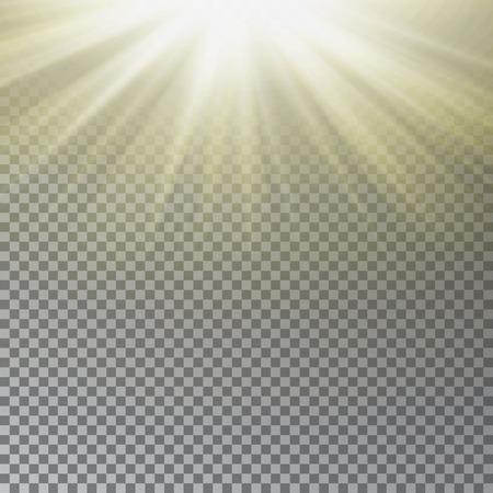 Sun light vector. Sun rays effect Illustration