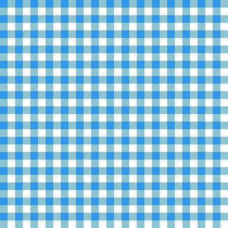 ギンガムのシームレスなパターン。青いイタリア テーブル クロス。ピクニック物語布ベクトル。  イラスト・ベクター素材