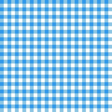 Gingham sin patrón. Mantel azul italiano. Vector de tela de cuento de picnic.